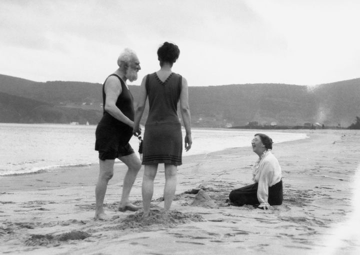 Alexander Graham Bell spends time with his family by Bras D'or Lake on Cape Breton Island, Nova Scotia, Canada, in 1907.