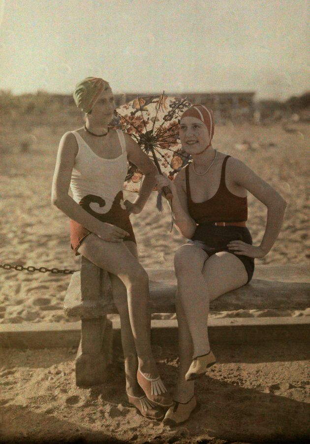Women pose in bathing suits in Bucharest, Romania, circa