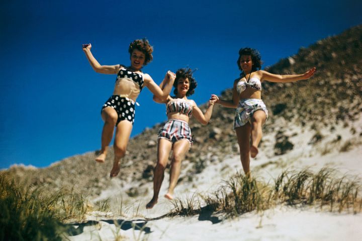 Women frolic in bikinis in Palm Springs, California, during the 1950s.