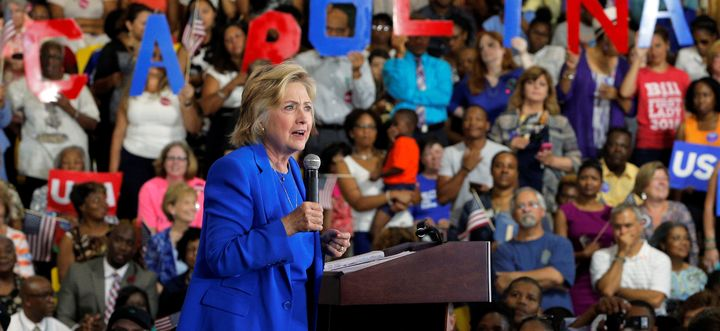 Hillary Clinton speaks at a campaign voter registration event in Charlotte, North Carolina, September 8, 2016.