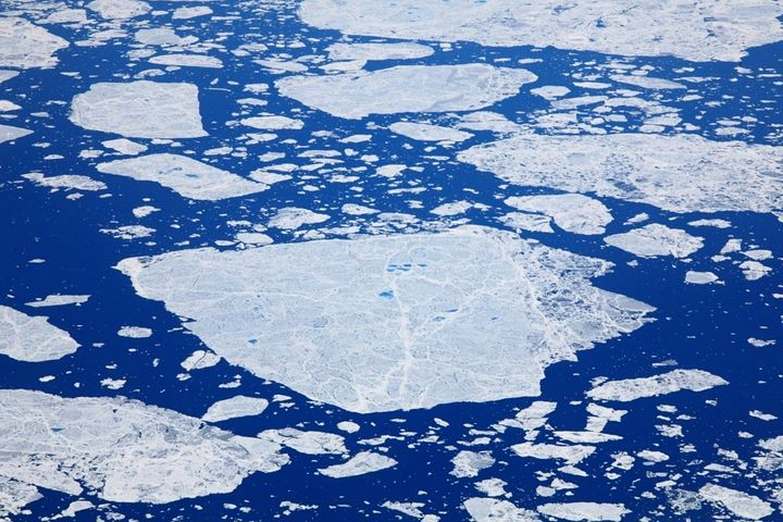 Ice flows off the east coast of Baffin Island. The world's oceans have absorbed the vast majority of the heat produced by hum
