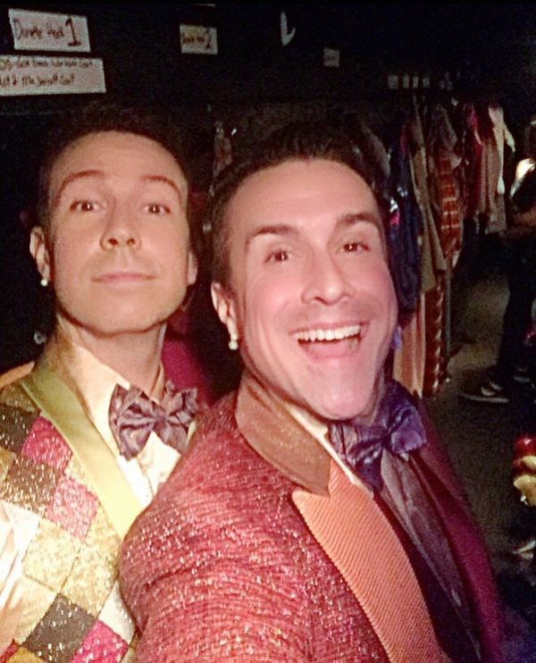 """""""Taking a quick selfie as Jeremy and I run to our next quick change. Nothing could be finer than tap dancing next to this guy"""