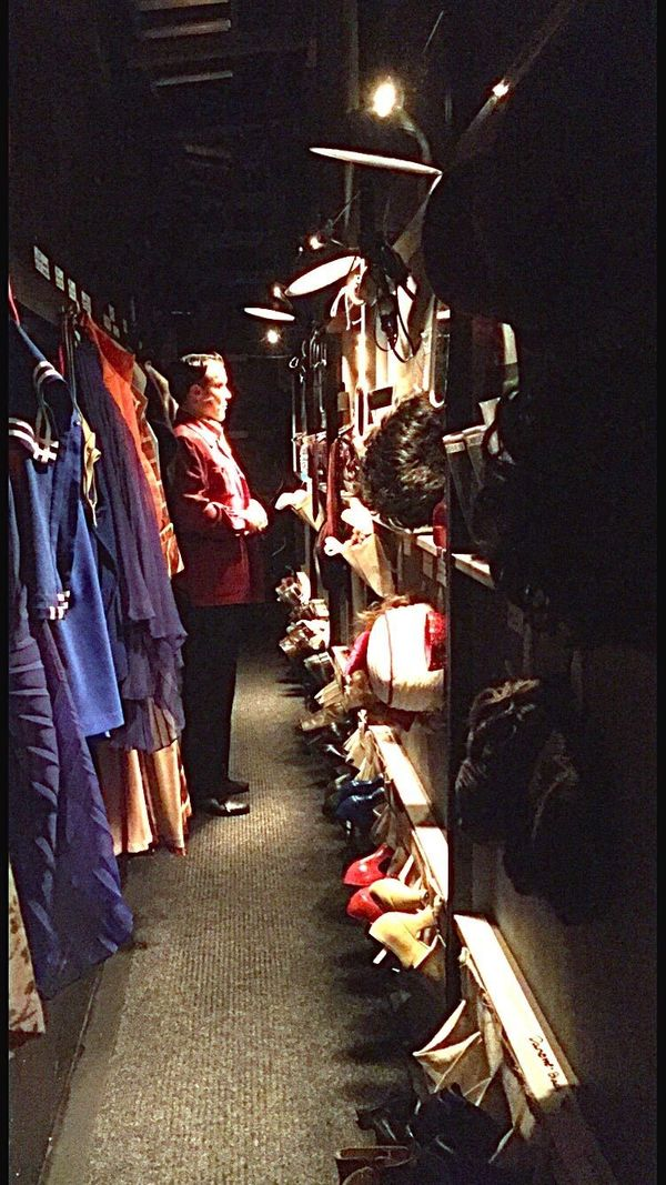 """""""Dresser Chelsea snaps a private moment of me in our quick change crossover preparing for my Act 1 director, Mr. Wellman. We"""
