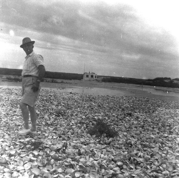 <i>The Croxtons' grandfather, William A. Croxton, Sr. -- son of the oyster company's founder -- in a photo taken in the 1950s.</i>