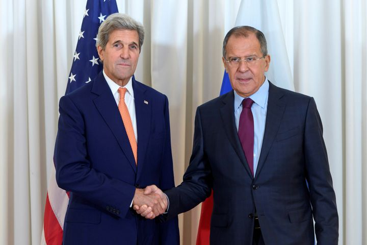 U.S. Secretary of State John Kerry and Russian Foreign Minister Sergei Lavrov at a bilateral meeting focused on the Syri