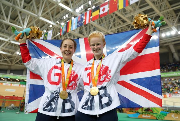 Great Britain's Sophie Thornhill (left) and Helen Scott on the podium after winning gold in the Women's...