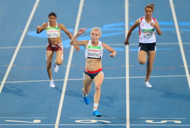 Great Britain's Georgina Hermitage celebrates winning Gold in the Women's 100m -