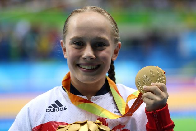 Great Britain's Ellie Robinson with her Gold medal during the medal ceremony for the Women's 50m Butterfly