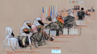 In this pool photo of a sketch by courtroom artist Janet Hamlin and reviewed by the U.S. Department of Defense, the self-proclaimed terrorist mastermind Khalid Sheikh Mohammed, seventh from left, with his gray beard streaked with reddish-orange dye, and four co-conspirators, attend the pretrial hearings at the Guantanamo Bay U.S. Naval Base in Cuba, Monday, Aug. 19, 2013. Five Guantanamo Bay prisoners accused of helping orchestrate the Sept. 11 terrorist attacks returned to court Monday as arguments resumed. Lawyers for the five prisoners, who face charges that include murder and terrorism, began to challenge the statements made to U.S federal agents such as James Fitzgerald of the FBI and Stephen McClain, with the Criminal Investigative Task Force of the Department of Defense, who defended their interrogation of one of the detainees. (AP Photo/Janet Hamlin, Pool)