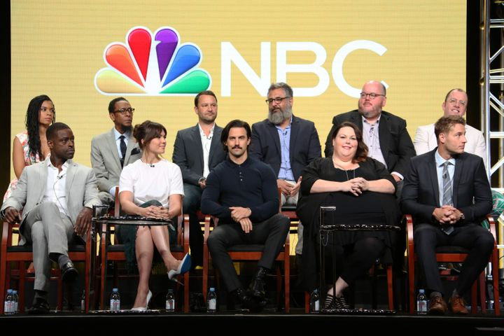 "Dan Fogelman with the ""This Is Us"" cast and crew at the NBCUniversal Summer Press Tour."
