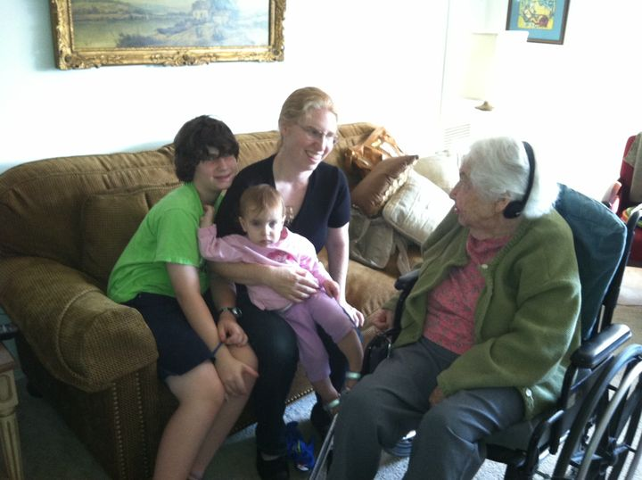 The author with her children and grandmother.