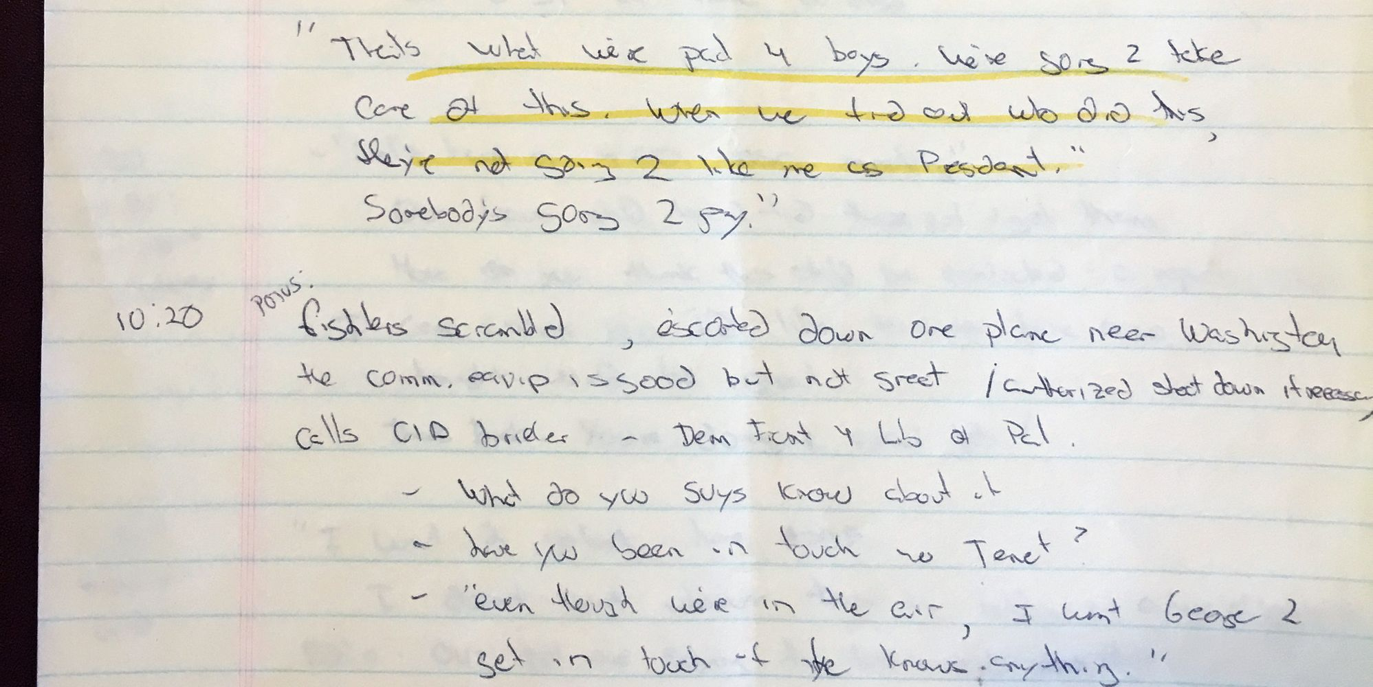 9/11 George Bush Air Force One Notes Reveal President's Reaction To Twin Towers Terrorist Attacks