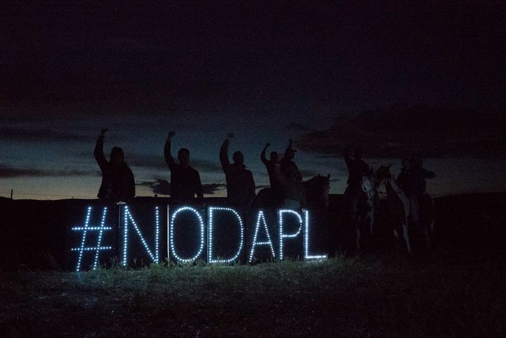 LED lights form a hashtag that protest the Dakota Access Pipeline.