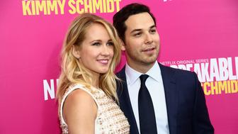 NEW YORK, NEW YORK - MARCH 30:  Actors Anna Camp (L) and Skylar Astin attend the 'Unbreakable Kimmy Schmidt' Season 2 world premiere at SVA Theatre on March 30, 2016 in New York City.  (Photo by Astrid Stawiarz/Getty Images)