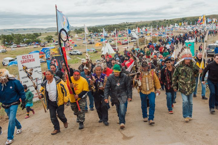 Protesters gather near the Standing Rock Sioux reservation on Friday.