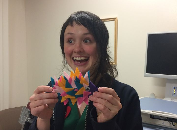 Rachel, a fellow volunteer, is nothing if not vibrant. Witness her felted spike-fish creation.