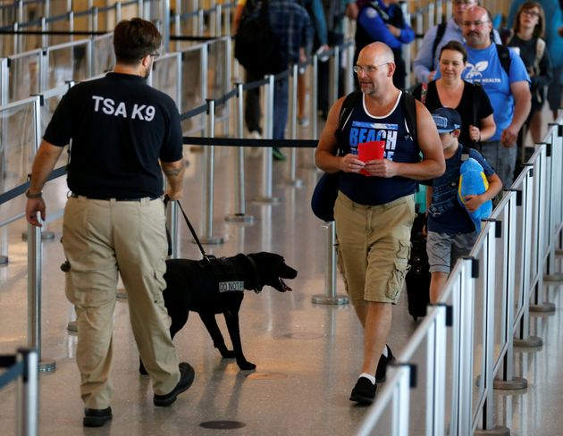 Travelers make their way past a TSA security officer and dog at Lindbergh Field airport in San Diego,...