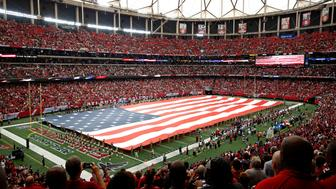 Sep 11, 2016; Atlanta, GA, USA; A U.S. flag is shown during the national anthem prior to the game between the Tampa Bay Buccaneers and the Atlanta Falcons at the Georgia Dome. Mandatory Credit: Jason Getz-USA TODAY Sports