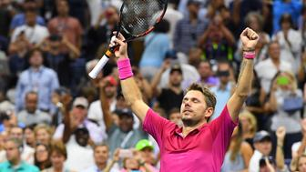Sept 11, 2016; New York, NY, USA;   Stan Wawrinka of Switzerland celebrates after beating Novak Djokovic of Serbia in the men's singles final on day fourteen of the 2016 U.S. Open tennis tournament at USTA Billie Jean King National Tennis Center. Mandatory Credit: Robert Deutsch-USA TODAY Sports