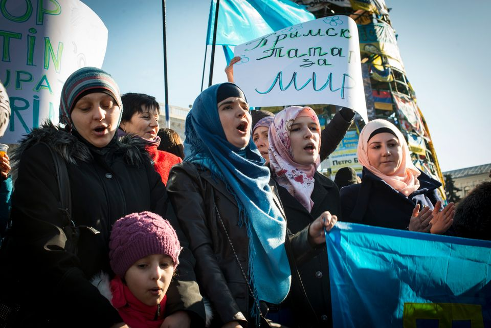 Tatar women at Kiev's Maidan Square during International Women's Day on the 8th of March, 2014 to protest...