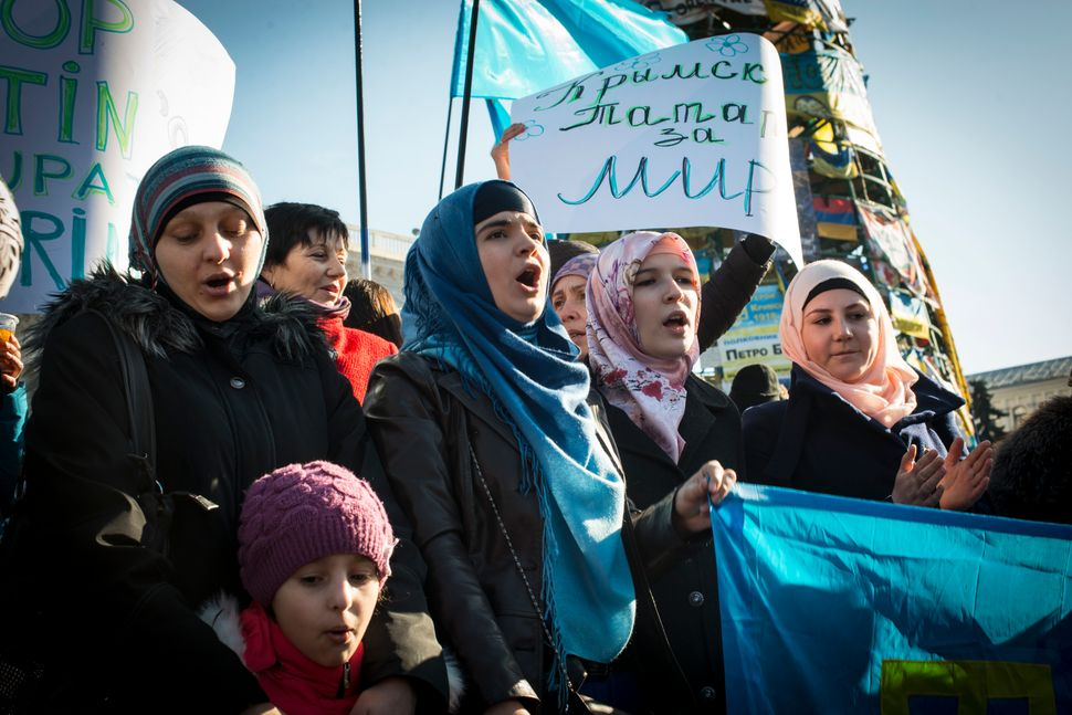 Tatar women at Kiev's Maidan Square during International Women's Day on the 8th of March, 2014 to protest for Ukraine unity.&