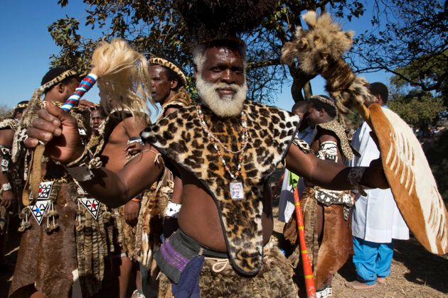 A member of the Shembe Church wearing a Panthera faux fur