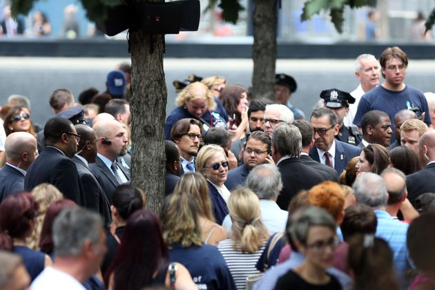 Democraticpresidential candidate Hillary Clinton arrives at the 15th anniversary of the 9/11 attacks...