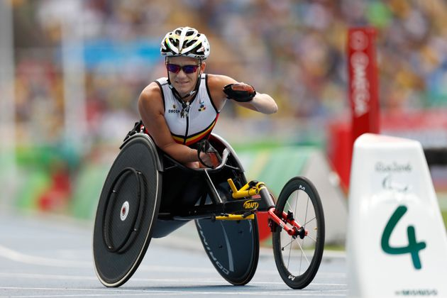 Vervoort warms up for the athletics women's 400-meter T52 final, during the Rio 2016 Paralympic