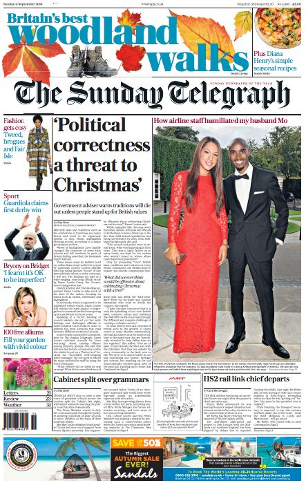 The Sunday's Telegraph's front