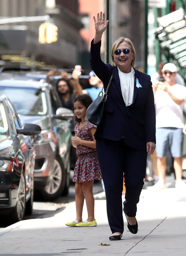 'Feeling great!': Hours later a sprightly Clinton was seen leaving her daughter Chelsea's nearby