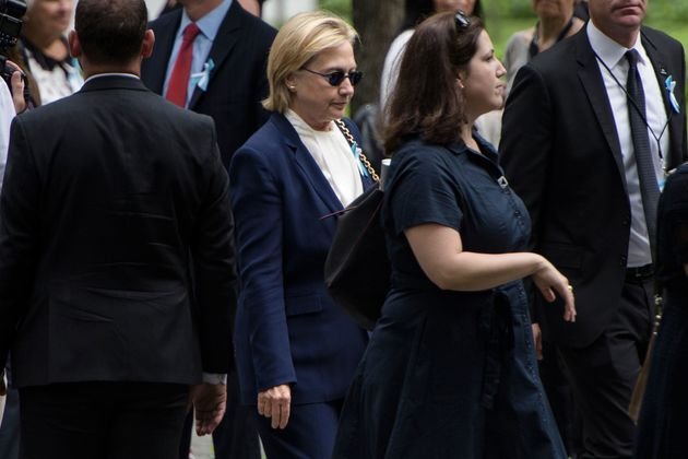 Hillary Clinton arriving at the 9/11 memorial service on
