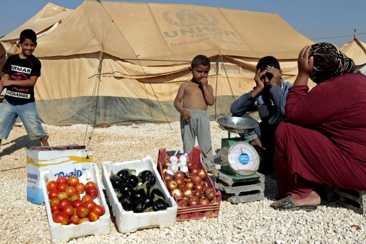 A Syrian refugee woman sells vegetables at the Zaatari refugee camp, home to more than 55,000 Syrians, located close to the J