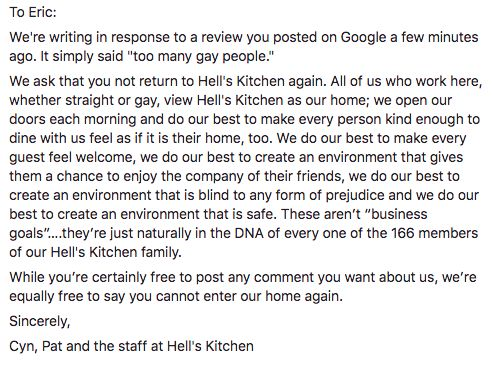 Hell's Kitchen's note to Eric on its Facebook page.