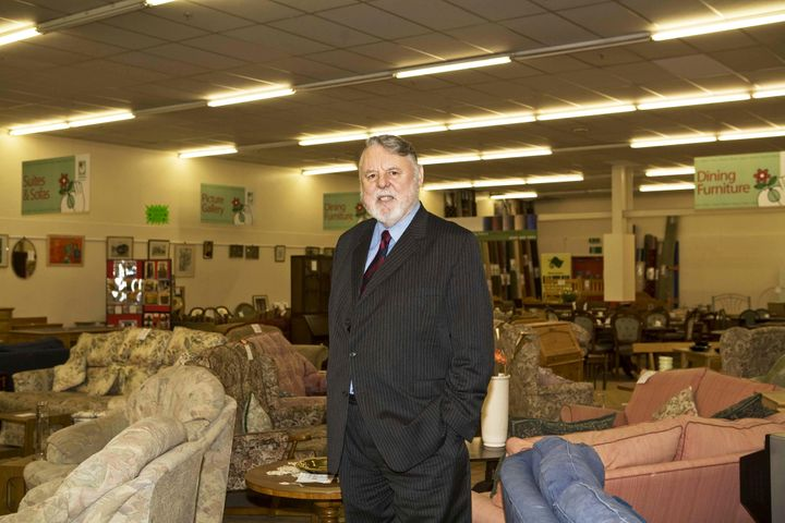 Terry Waite at an Emmaus store in Glasgow