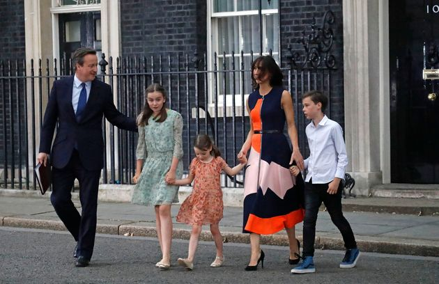 David Cameron and his family as he announced his resignation as prime