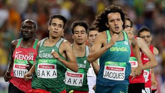 RIO DE JANEIRO, BRAZIL - SEPTEMBER 11:  Abdellatif Baka of Algeria and Yeltsin Jacques of Brazil lead the pack in the men's 1500 meter T13 final at Olympic Stadium during day 4 of the Rio 2016 Paralympic Games on September 11, 2016 in Rio de Janeiro, Brazil.  (Photo by Matthew Stockman/Getty Images)