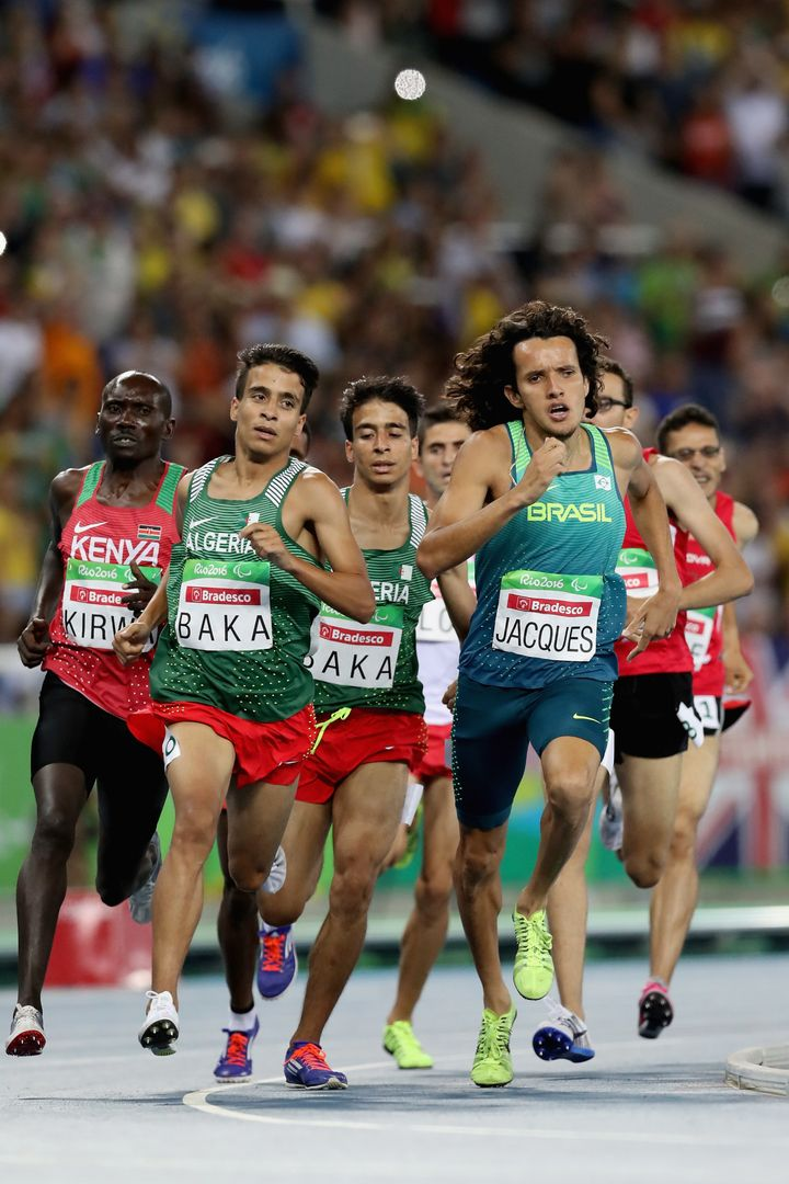 Abdellatif Baka of Algeria and Yeltsin Jacques of Brazil lead the pack in the men's 1500 meter T13 Final on Day 4 of the Rio