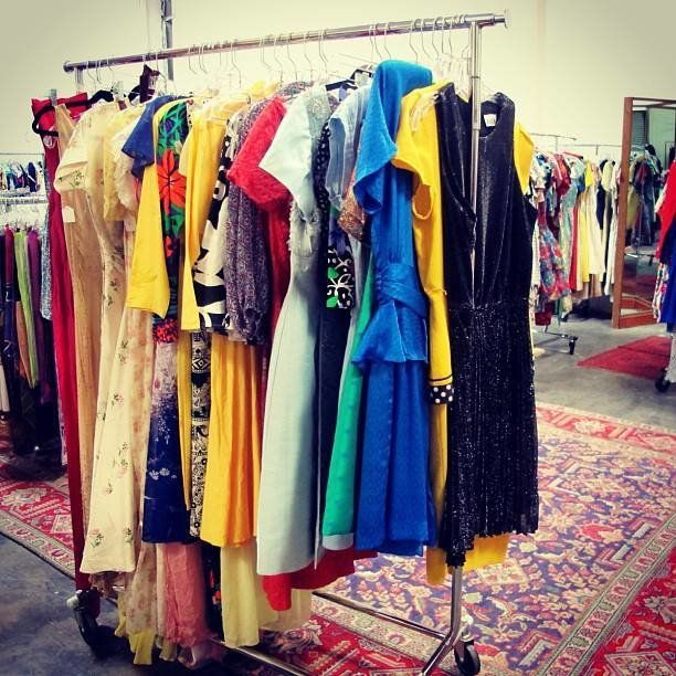 A rack of clothing at Shareen Vintage in Los