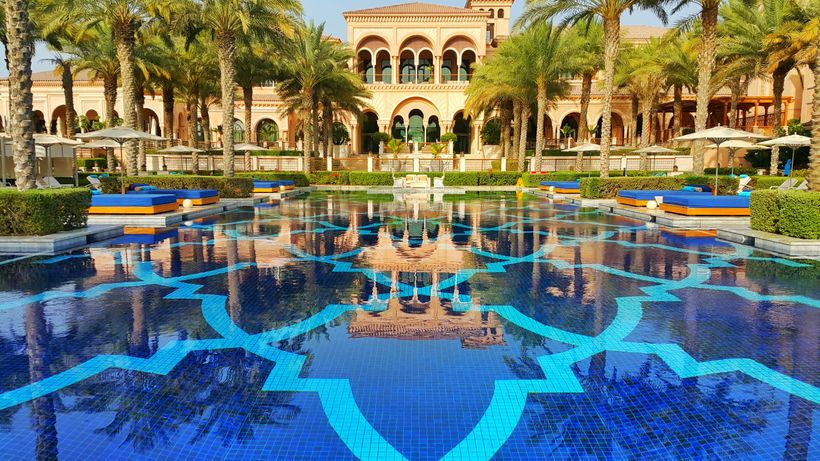 The hotel's beautiful and massive pool