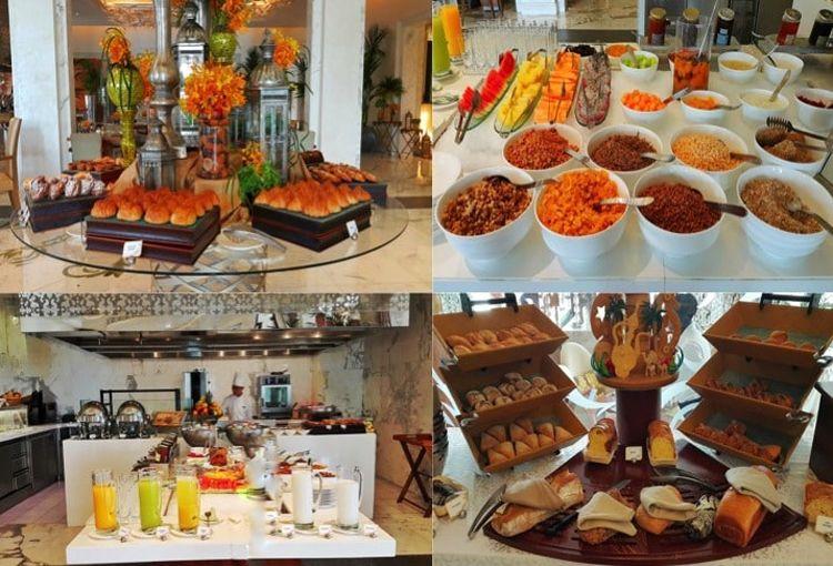 Several breakfast options for guests, including elegantly designed breads