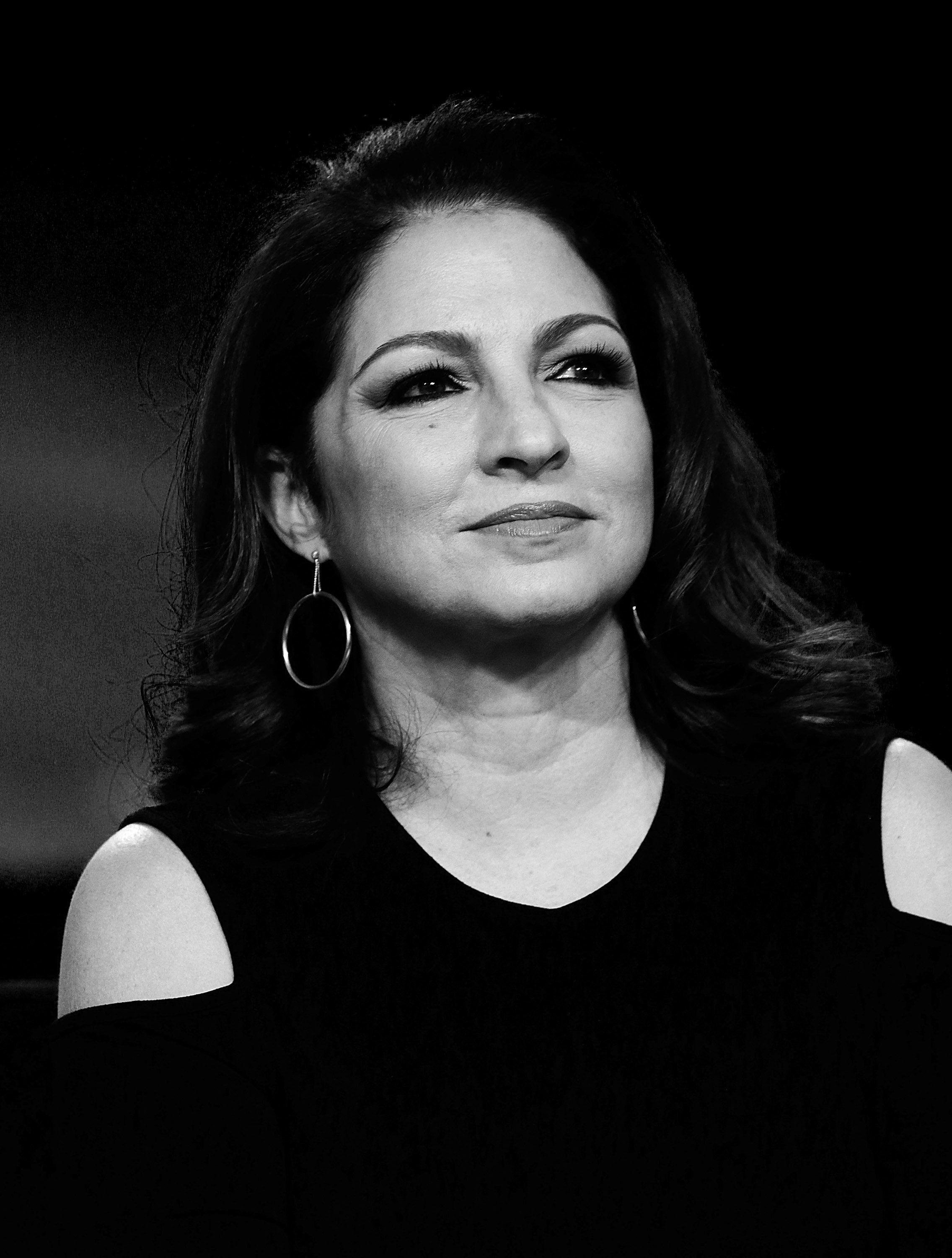 NEW YORK, NY - OCTOBER 18:  (EDITORS NOTE; image has been converted to black and white)  Singer Gloria Estefan attends 4th Annual People en Espanol Festival at Jacob Javitz Center on October 18, 2015 in New York City.  (Photo by John Lamparski/WireImage)
