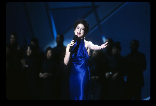 Gloria Estefan during her iconic comeback performance on Jan. 28, 1991 at the American Music