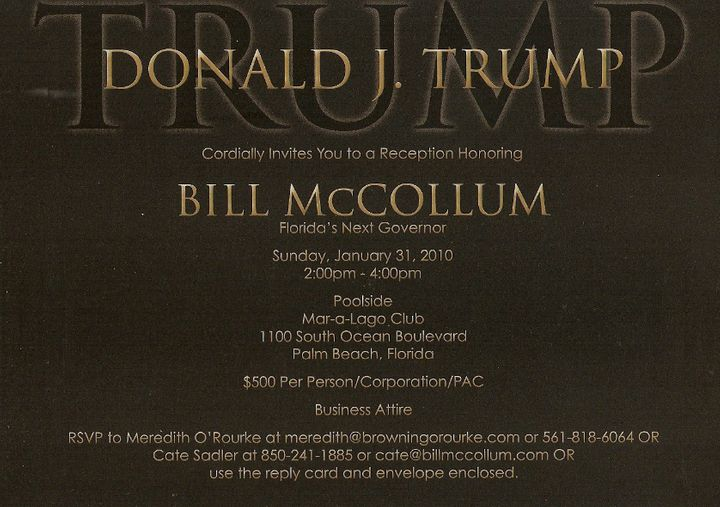 A fundraiser that Donald Trump hosted for Bill McCollum in 2010.