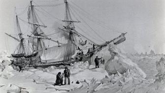 UNSPECIFIED - JANUARY 16: The HMS Terror, commanded by the British admiral George Back (1796-1878), trapped in the ice, February 22, 1837. Yellowknife, Prince Of Wales Northern Heritage Centre (Photo by DeAgostini/Getty Images)