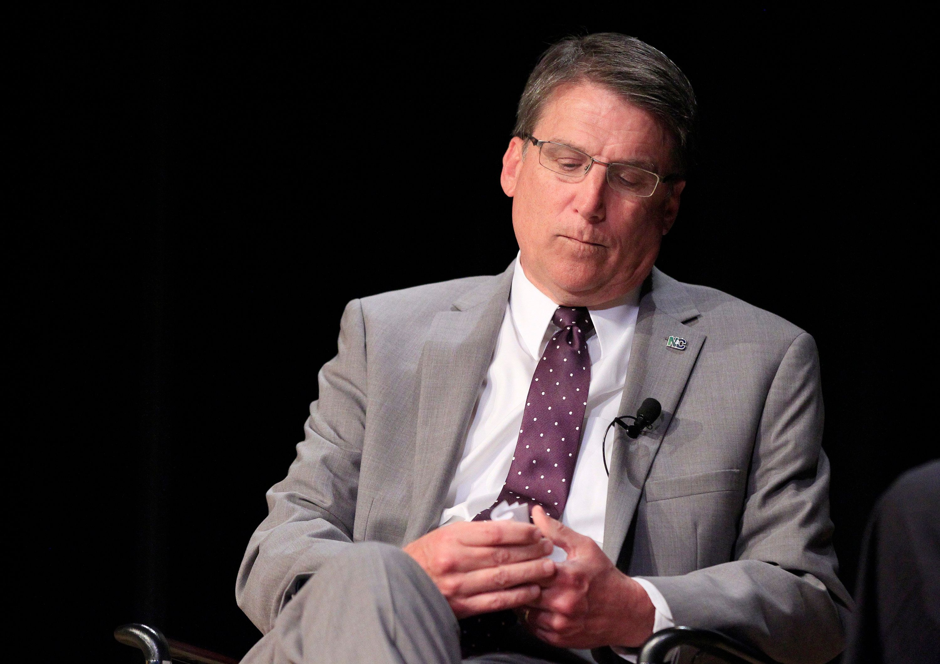 North Carolina Gov. Pat McCrory listens to a question from Tim Boyum during a question and answer session at the N.C. Chamber Annual Government Affairs Conference at the N.C. Museum of History in Raleigh, N.C., on Wednesday, May 4, 2016. (Ethan Hyman/Raleigh News & Observer/TNS via Getty Images)