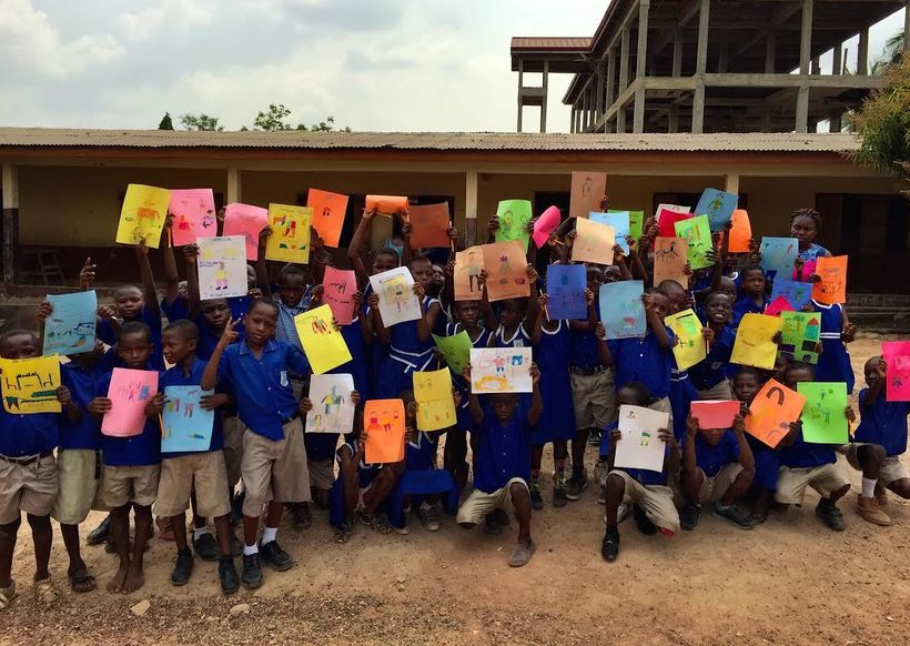 2nd Grade students at the Dodowa Presbyterian School in Dodowa, Ghana showing off their art after an AoH workshop (January 20