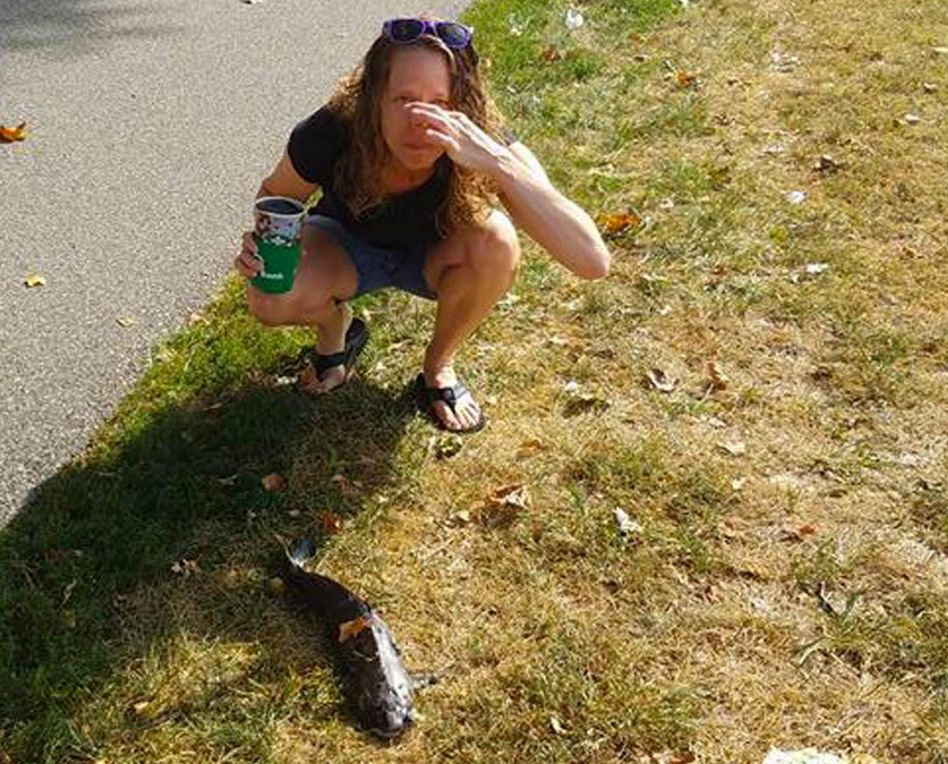 Lisa Lobree crouches next to the catfish that fell from the sky and struck her in the