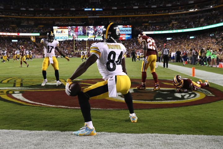 Antonio Brown after scoring a touchdown Monday night.