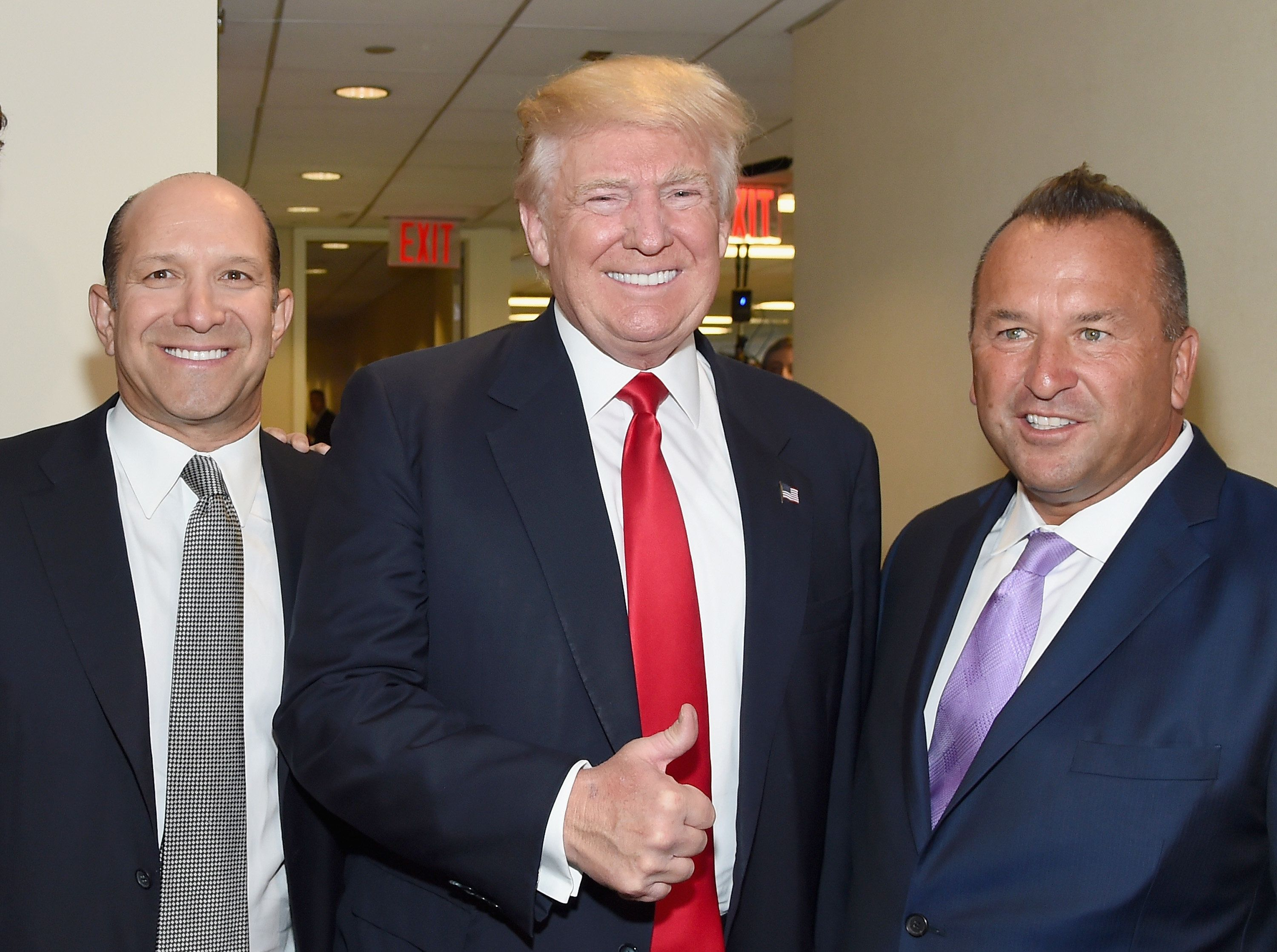NEW YORK, NY - SEPTEMBER 12:  (L-R) Chairman and CEO of Cantor Fitzgerald, Howard Lutnick, US Republican presidential nominee Donald Trump, and Executive Managing Director, North America for BGC, Daniel LaVecchia attend Annual Charity Day hosted by Cantor Fitzgerald, BGC and GFI at BGC Partners, INC on September 12, 2016 in New York City.  (Photo by Larry Busacca/Getty Images for Cantor Fitzgerald)