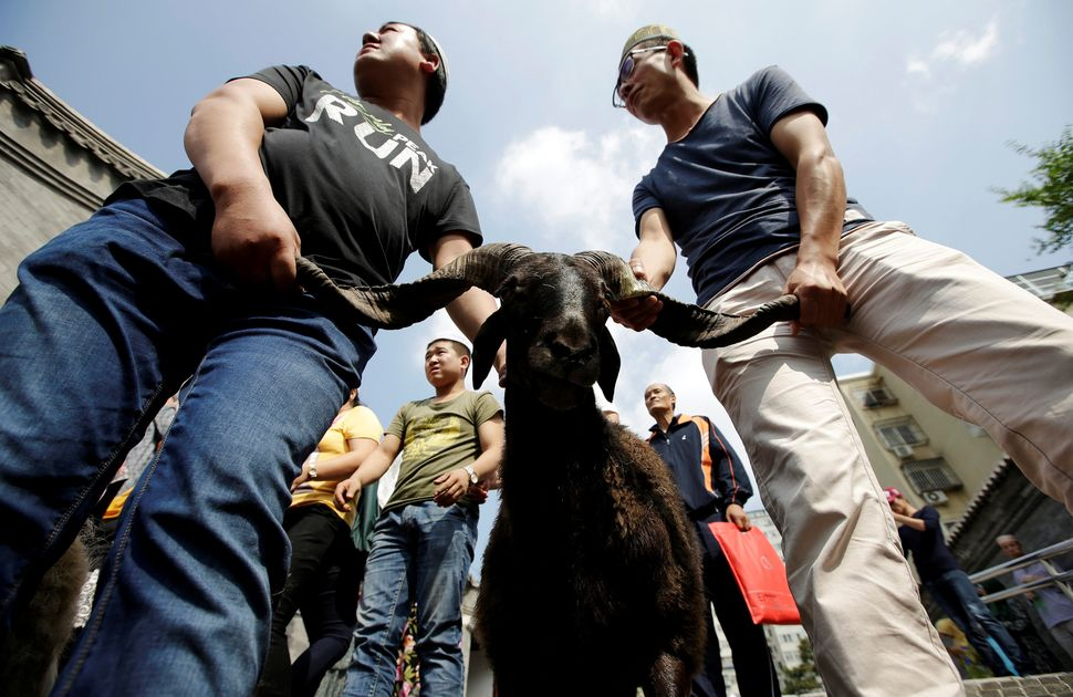 Men prepare a goat for sacrifice during Eid al-Adha near Niujie Mosque in Beijing, China, Sept. 12, 2016.
